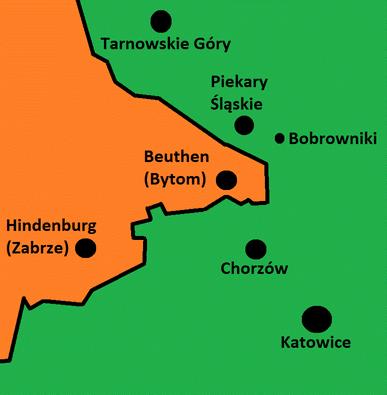 Схема Польско-Германской границы в 1939 году.
