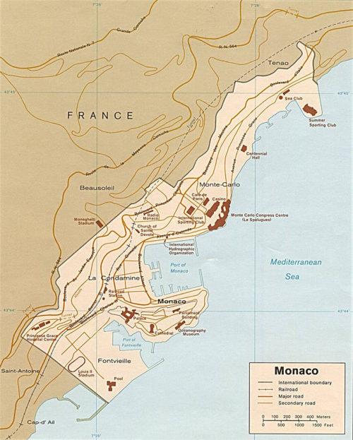 Современная карта Монако. Территория - 2,02 км².