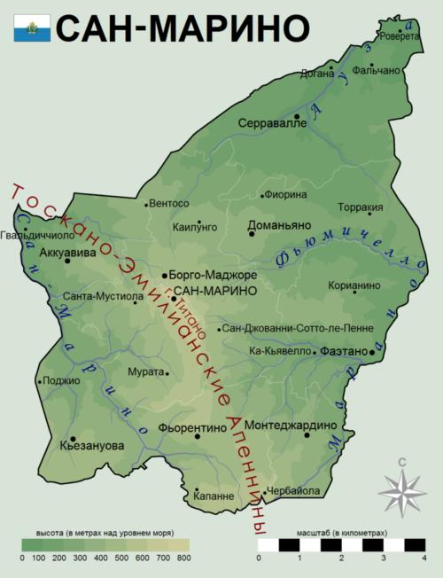 Современная карта Сан-Марино. Территория - 61 км².