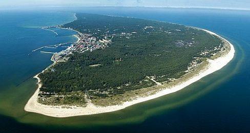 Вид на полуостров Хель (Хельская коса) с высоты.