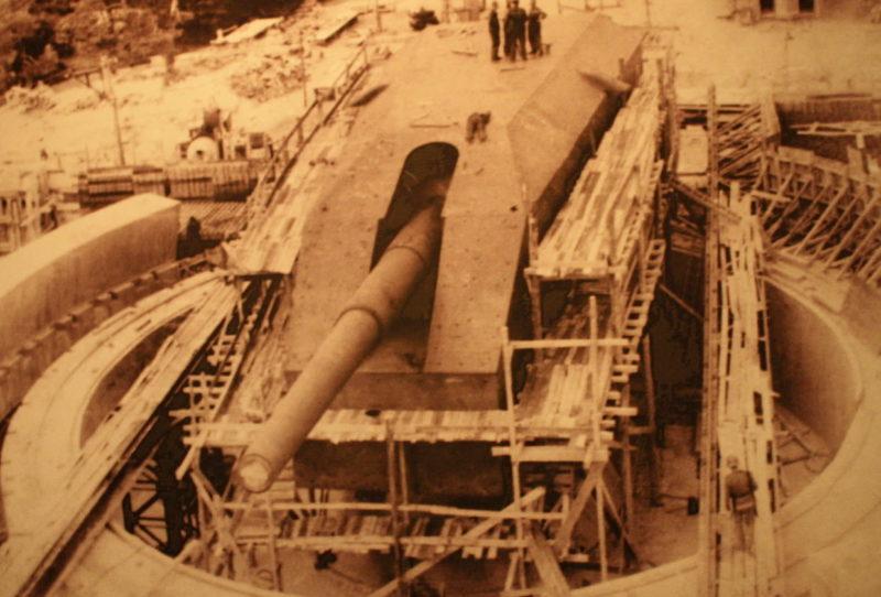 Строительство позиции для 406-мм орудия. 1940 г.