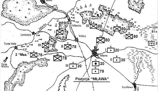 Общая схема размещения опорных пунктов укрепрайона «Mława».