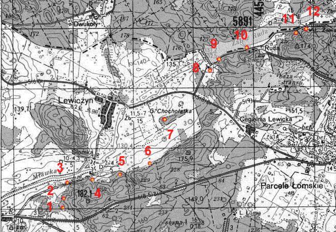 Карта размещения ДОТов в западной части укрепрайона.