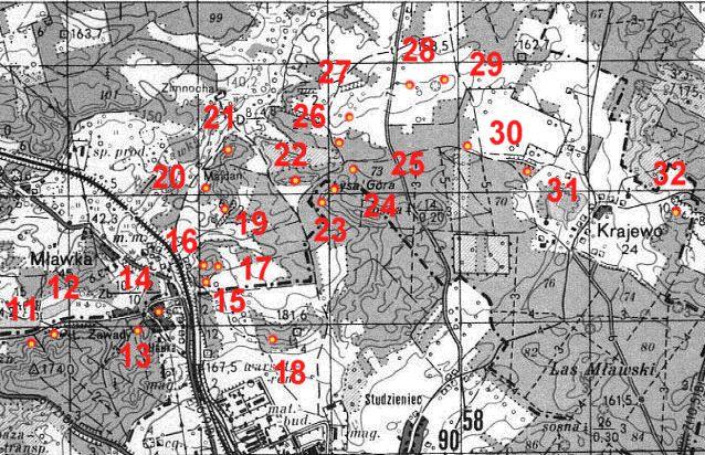 Карта размещения ДОТов в северной части укрепрайона.