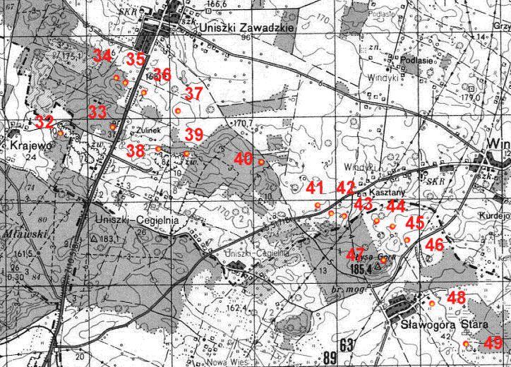 Карта размещения ДОТов в восточной части укрепрайона.