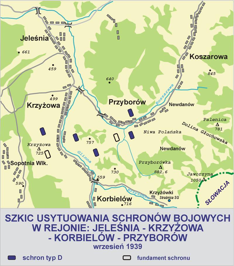 Эскиз расположения ДОТов укрепрайона «Jeleśnia».