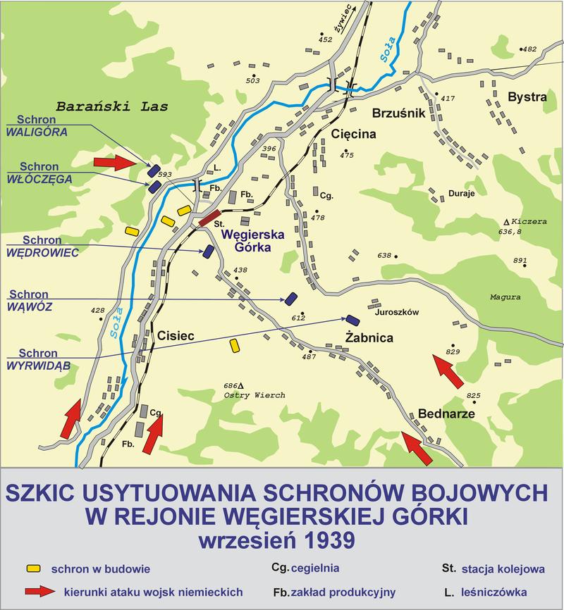 Схема размещения фортов укрепрайона на сентябрь 1939 г.
