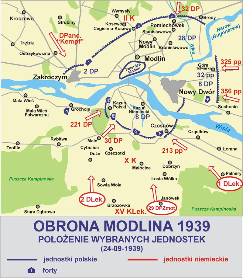 Карта битвы за Модлин. Сентябрь 1939 г.