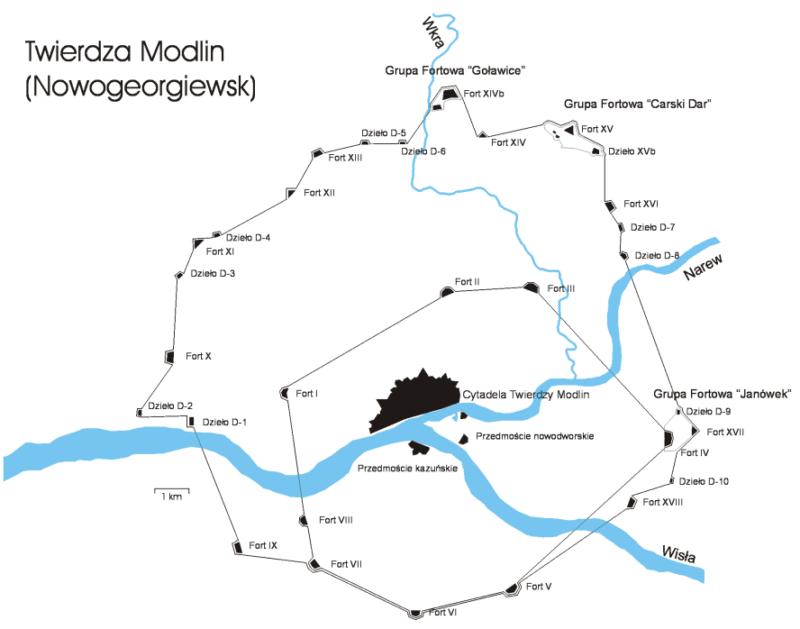 Схема крепости Модлин.
