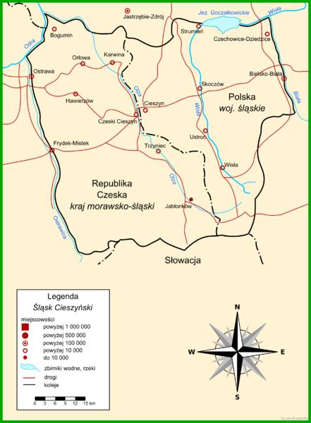 Польская карта Тешинской Силезии.