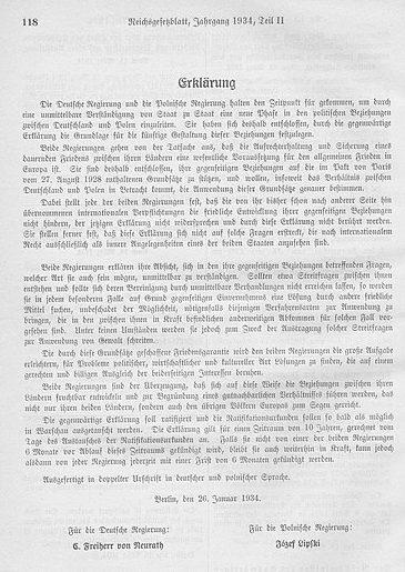 Текст Немецко-польского пакта о ненападении.