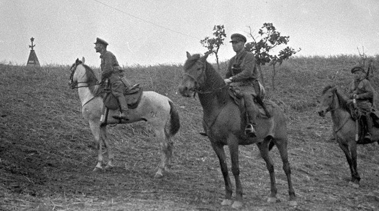 Наряд советских пограничников у озера Хасан. 1938 г.
