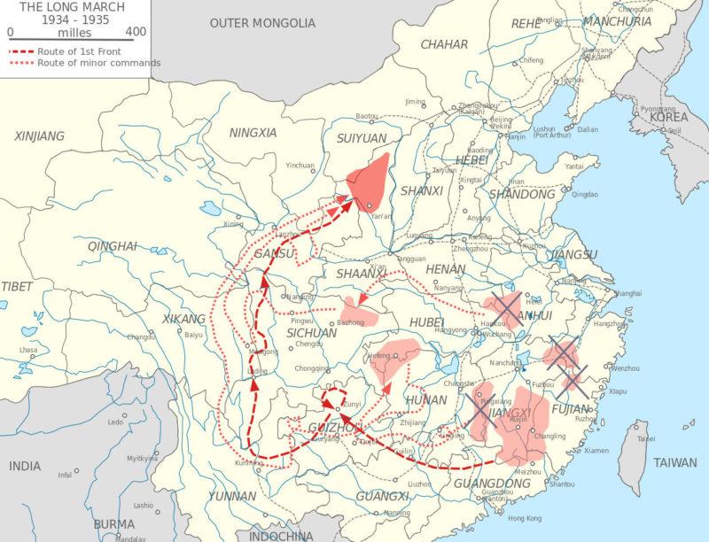 Карта Длинного Марша или Великого похода.