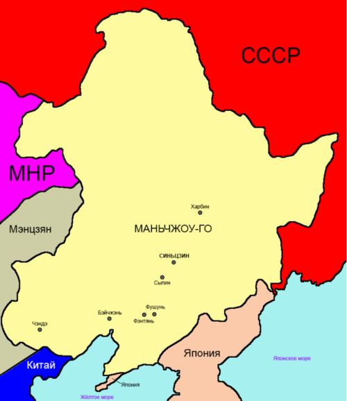 Карта-схема расположения государства Маньчжоу-го.