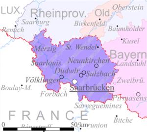 Территория области Саар под управлением Лиги Наций.