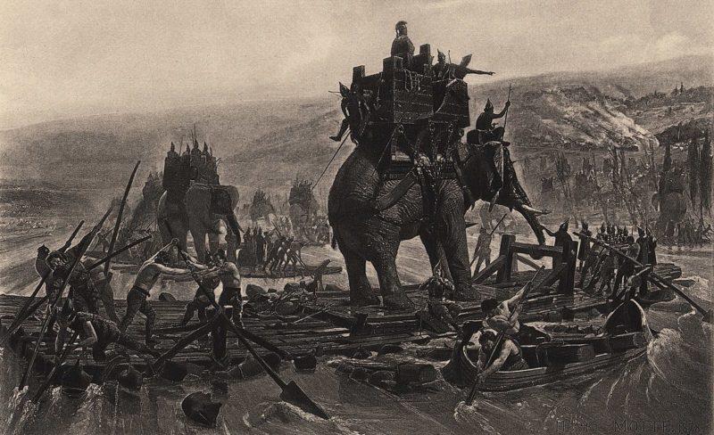Гравюра – «Переправа Ганнибала через Родан» (202 г. до н.э.).
