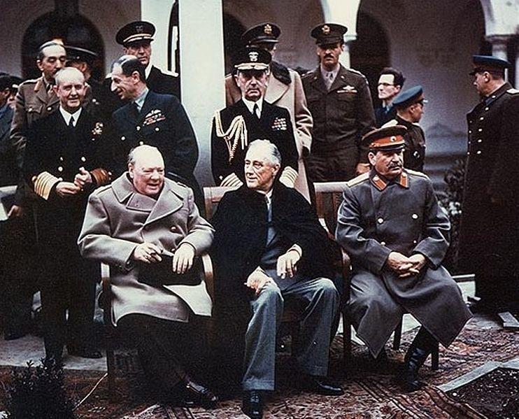 Черчилль, Рузвельт и Сталин. Ялтинская конференция, 1945 г.