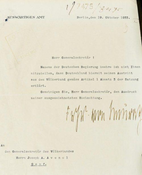 Письмо министра иностранных дел Германии Константина фон Нейрата о выходе с Лиги Наций.
