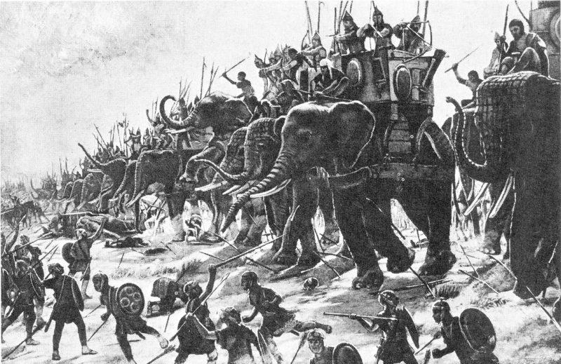 Карфагенские военные слоны сражаются с римской пехотой в «Битве при Заме» (202 г. до н.э.).