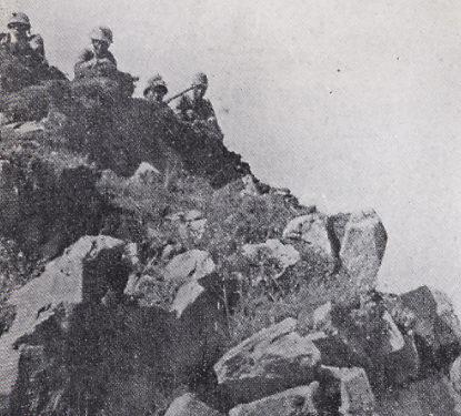 Японские солдаты, окопавшиеся на захваченных сопках Заозёрная и Безымянная.