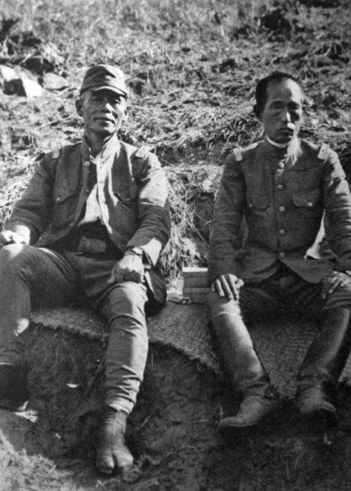 Японские солдаты, окопавшиеся на захваченных сопках Заозёрная и Безымянная. 1938 г.