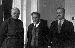 Калинин, Енукидзе и Молотов на заседании III Всесоюзного съезда Советов. Январь 1925 г.