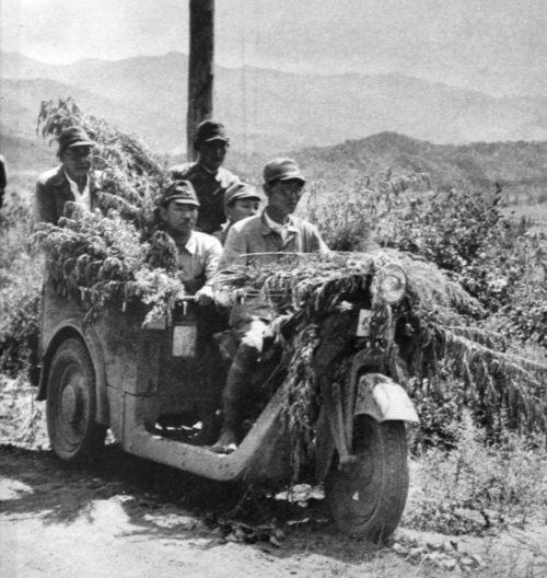 Передвижение японцев на трицикле. 1938 г.