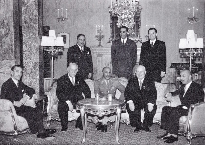 Н.А. Булганин, король Афганистана Мухаммед Захир-Шах и Н.С. Хрущев. Кабул, декабрь 1955 г.