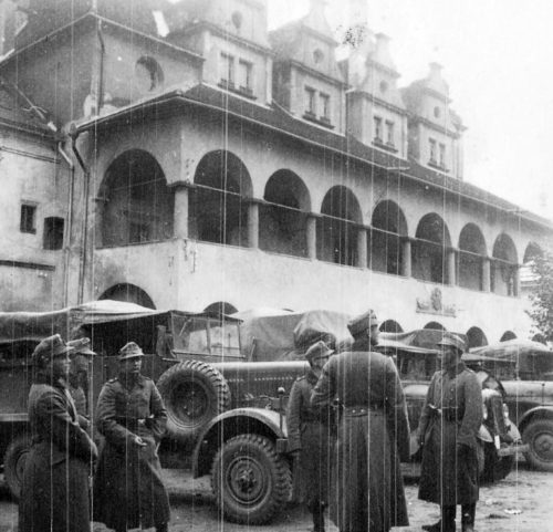 Немецкие войска в городе Левоча вблизи польской границы. 1939 г.