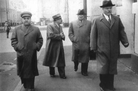 Маленков, Жданов, Берия, Молотов. Москва, 1946 г.