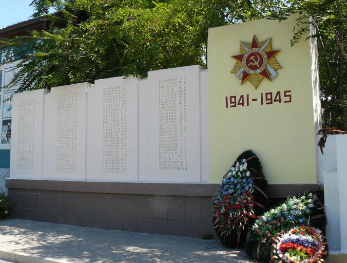 с. Варваровка Анапского округа. Памятник воинам-землякам, погибшим в годы войны, установленный по улице Калинина 79.