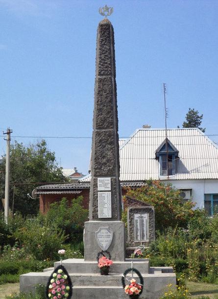 п. Синегорск Абинского р-на. Памятник на территории клинического лепрозория, установленный на братской могиле советских воинов.