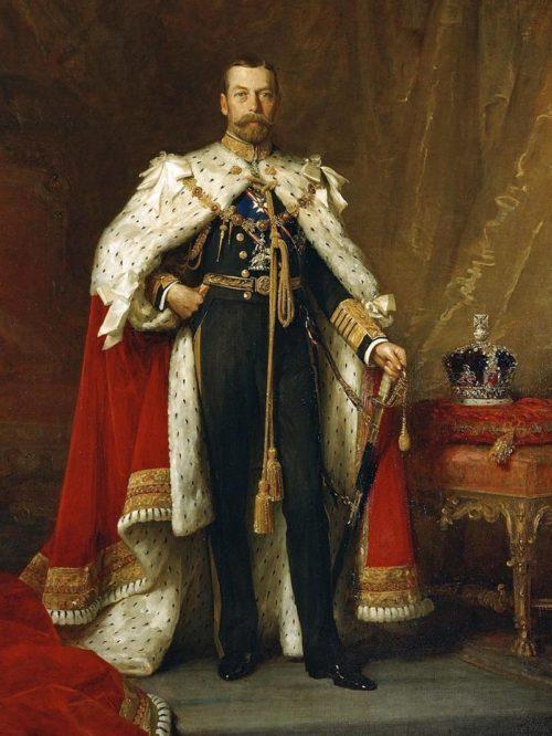 Английский король Георг V в коронационном одеянии на картине Люка Филдса.