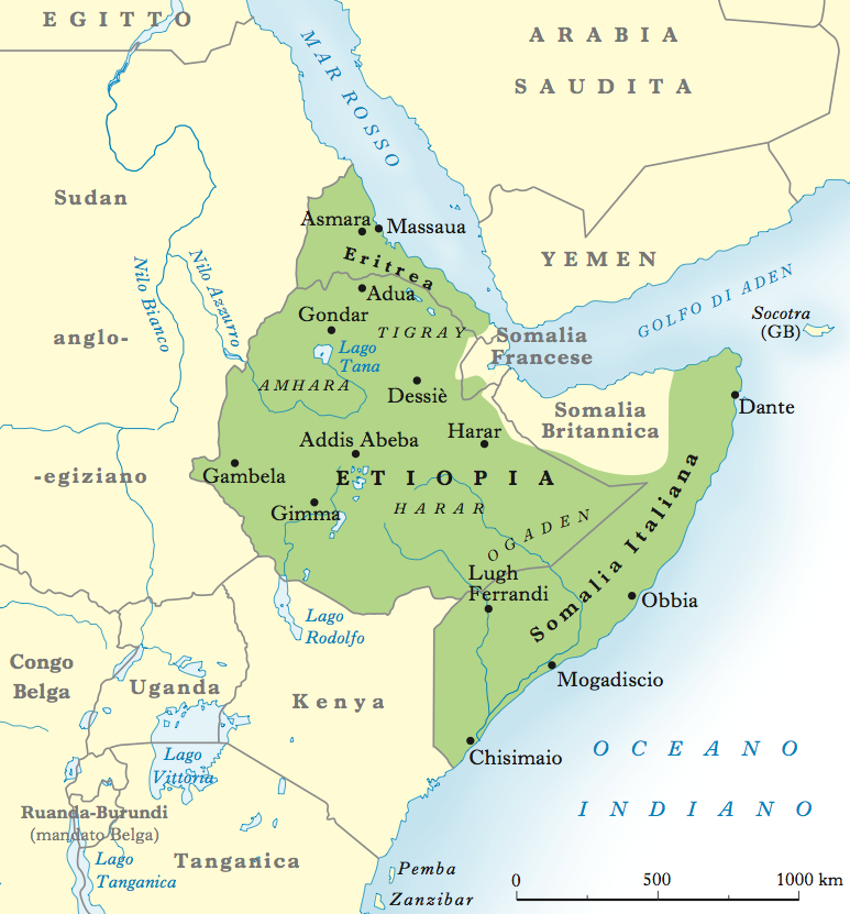 Карта Итальянской Восточной Африки.