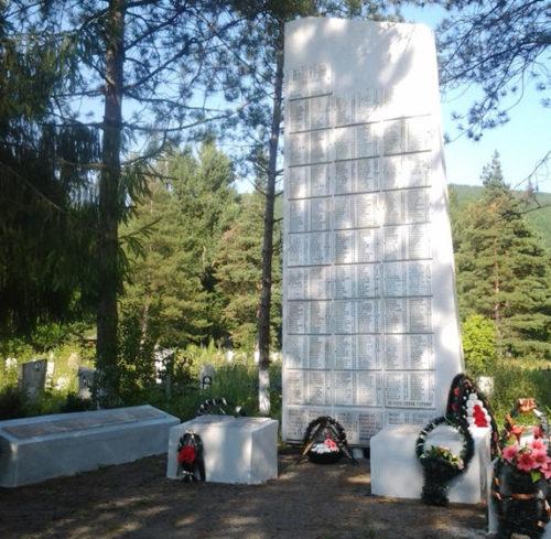 ст-ца. Шапсугская Абинского р-на. Памятник на кладбище, установленный на братской могиле советских воинов.