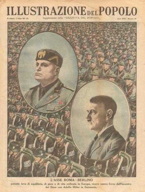 Обложка итальянского журнала «Illustrazione del popolo». Подпись гласит: «Ось Рим - Берлин» является мощным рычагом баланса, мира и упорядочения жизни в Европе».
