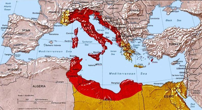 Карта «Большой Италии» из прожекта Муссолини.