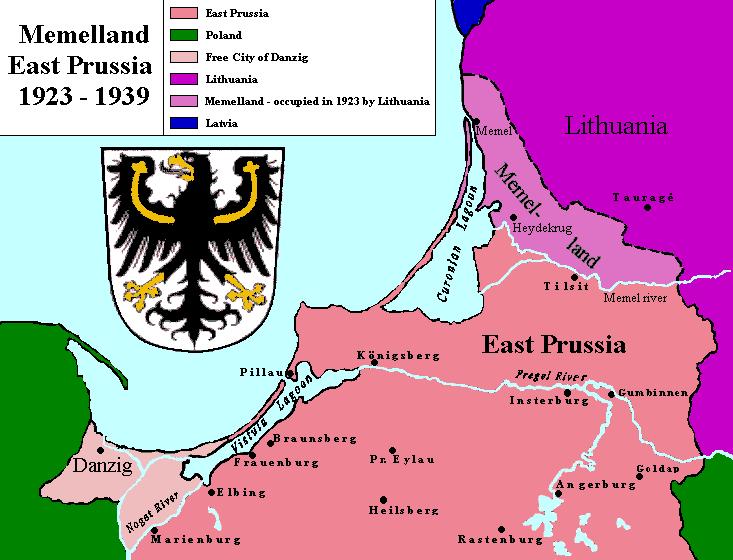 Карта межвоенного Мемельланда (1923—1939 гг.).