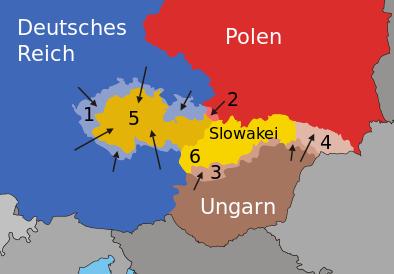 Схема расчленения Чехословакии в 1938-1939 годах. 1 – Судетская область, захваченная Германией; 2 – Тешинская область, захваченная Польшей; 3 – приграничные районы, захваченные Венгрией; 4 - Карпатская Украина, захваченная Венгрией, 5 - земли Богемии и Моравии, захваченные Германией; 6 – Словакия – сателлит Германии.