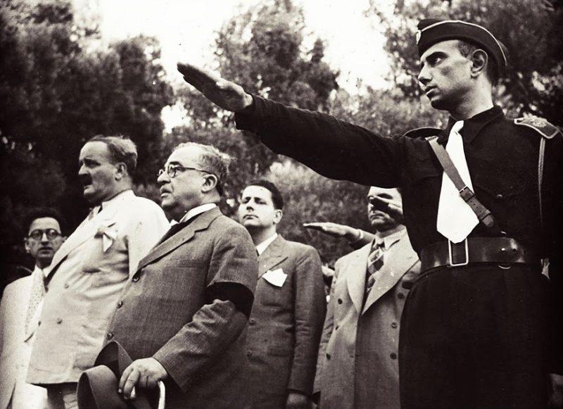 Члены EON приветствуют Иоанниса Метаксаса. 1938 г.