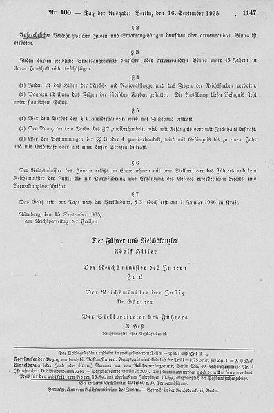 Закон «О защите немецкой крови и немецкой чести».