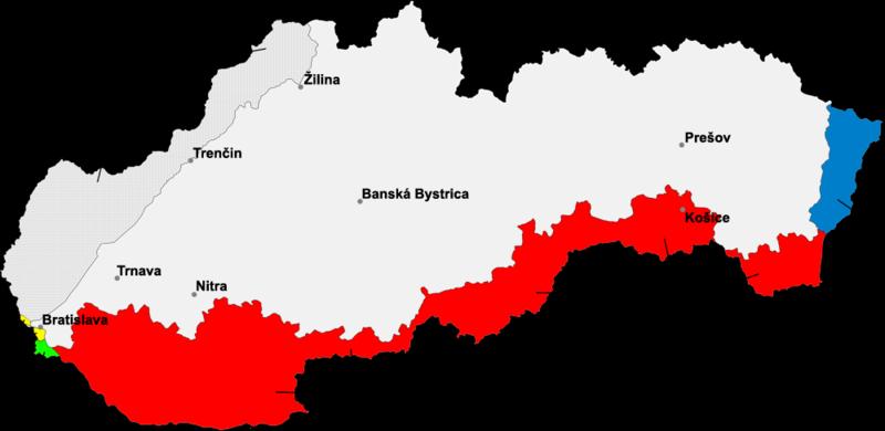 Карта-схема захвата Венгрией чехословацкой территории. Красным цветом показана территория отошедшая Венгрии 2 ноября 1938 года по решению Первого Венского Арбитража. Синим – в результате агрессии в марте 1939 года.