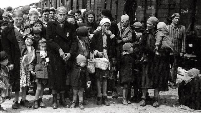 Прибытие еврейских женщин и детей из Венгрии в Освенцим. 1944 г.
