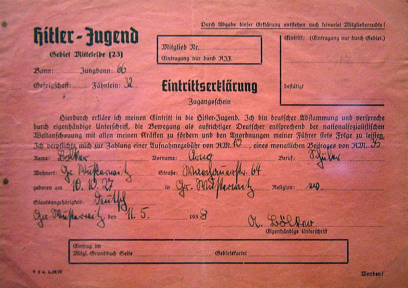 Заявление о вступлении в Гитлерюгенд.