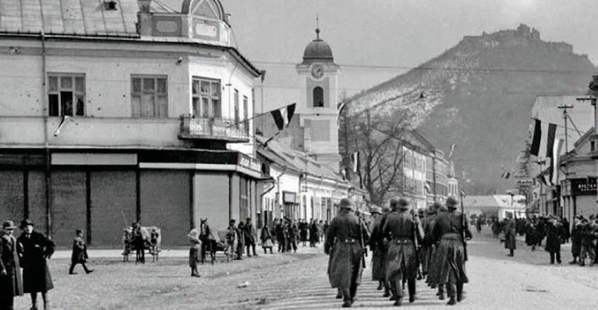 Венгерские войска в Хусте Карпатской Руси. 16 марта 1939 г.