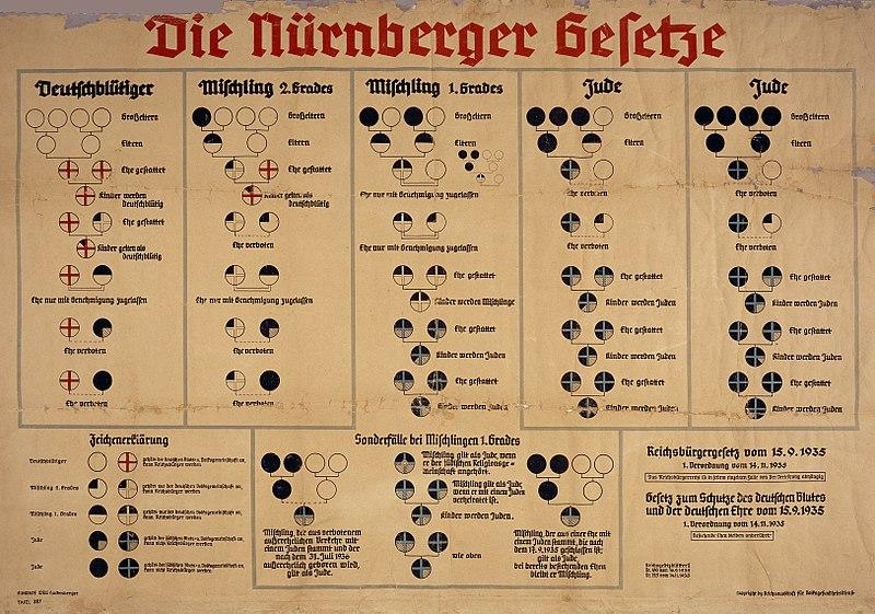 Схема, помогающая чиновникам определять принадлежность к «германской крови».