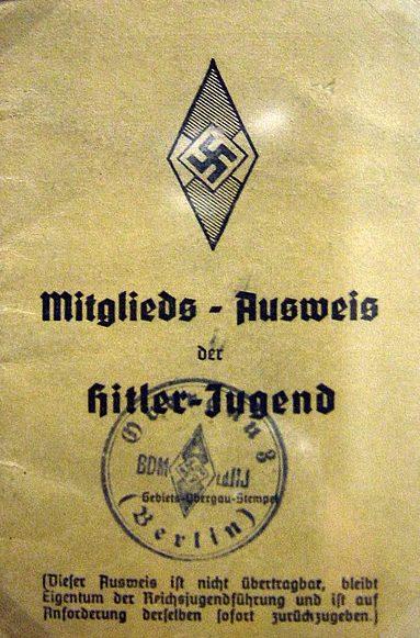 Удостоверение члена Гитлерюгенда.