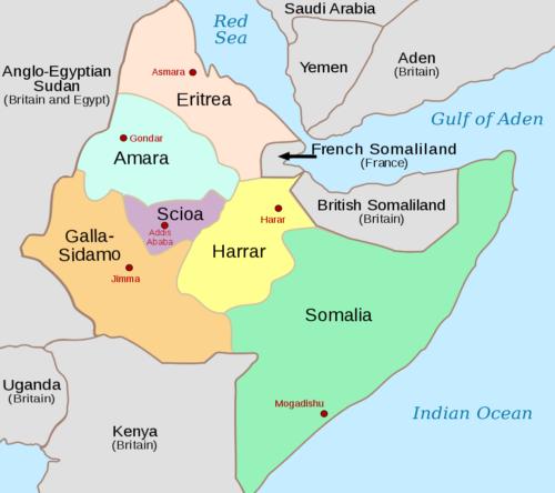Карта Итальянской Эфиопии в 1936-1941 годах.