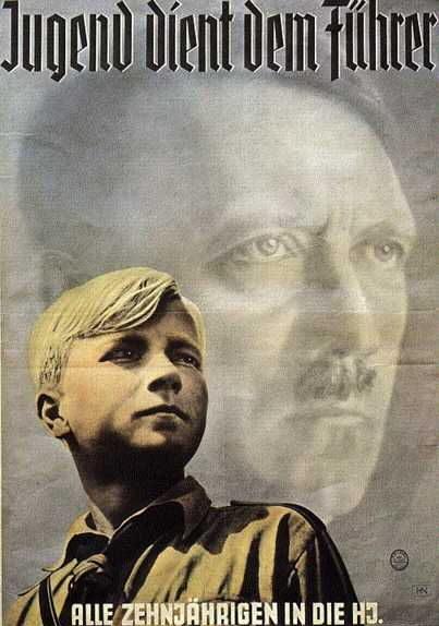 Плакат, пропагандирующий вступление в Гитлерюгенд. (Надпись верху - «Молодёжь служит фюреру», снизу - «Все десятилетние - в гитлерюгенд»).
