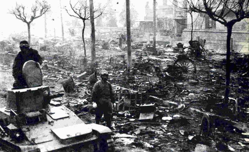 Улица Нанкина после захвата города японцами.